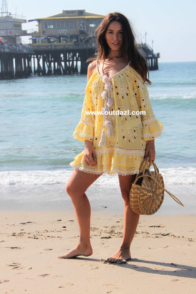 Cold shoulder dress Mermaid in YELLOW