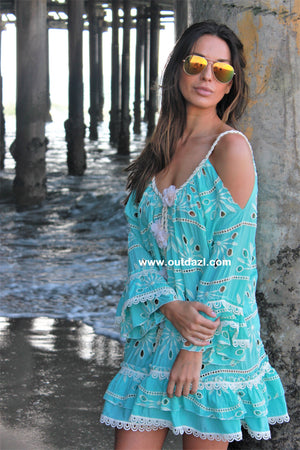 Cold shoulder dress Mermaid in Turquoise
