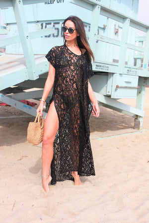 Maxi Lace Sequinned Kaftan Zeina