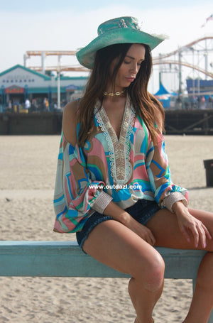 Print Cold Shoulder top Cindy