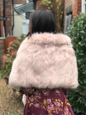 Luxury Faux Fur Collared Wrap Shawl