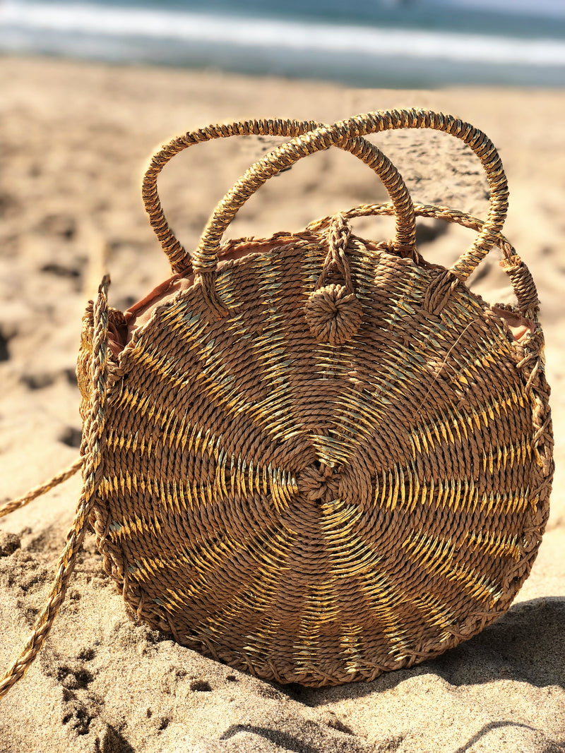 Round Gold Straw Bag with Long strap