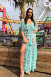 Maxi Lace Embellished Kaftan Monica in Aqua | Laurie and Joe