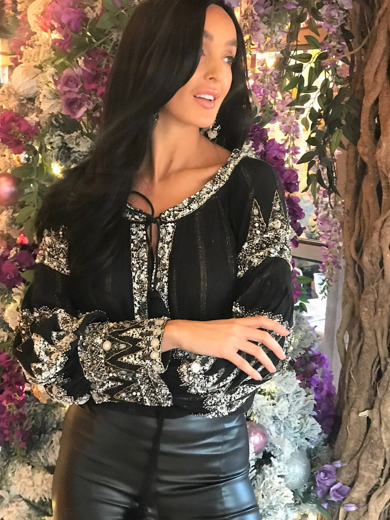 Balloon sleeve embellished Blouse in Black