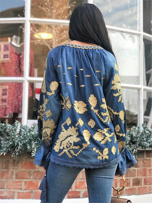 Denim top with statement gold embroidery