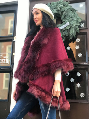 Faux Fur knit Cape