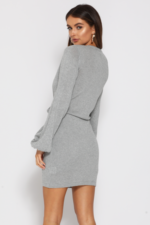 Allegra Knit Dress in Grey