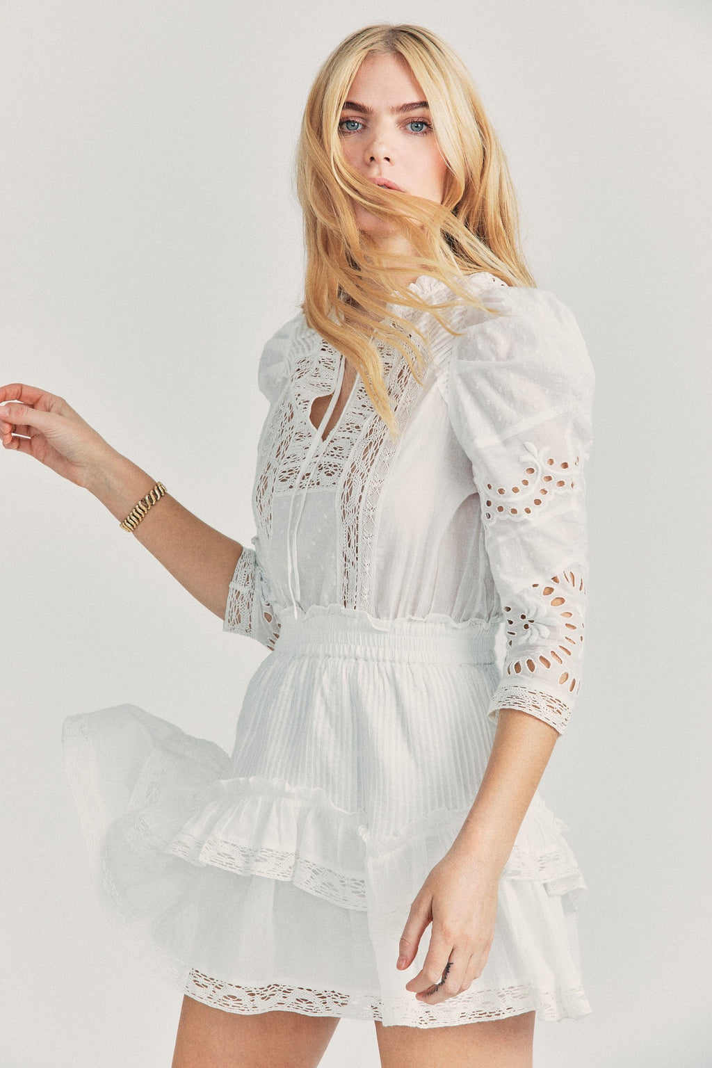 Loveshackfancy Isidore Cotton- Broderie Mini Dress in White