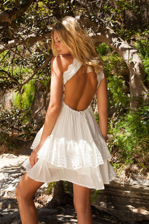 Halter Tie Crochet Backless Tori Dress In White