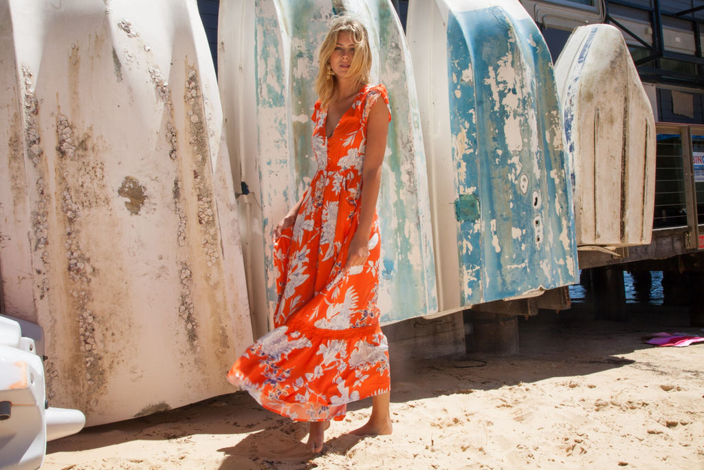 Maxi Dress Carmen in St Tropez Print