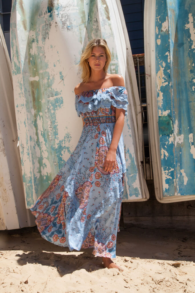 Positano Maxi Dress with lace detail in Frankie Print