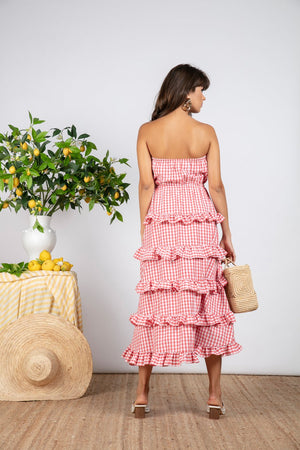 JASMIN MAXI DRESS IN CORAL GINGHAM PRINT WITH NEON CORAL POMPOMS