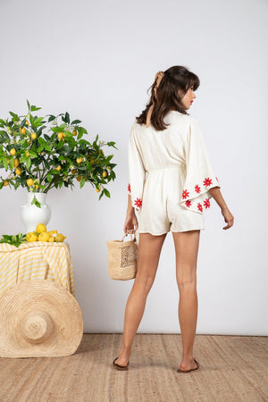 JUSTYN JUMPSUIT COCONUT / RED DAISIES EMBROIDERIES