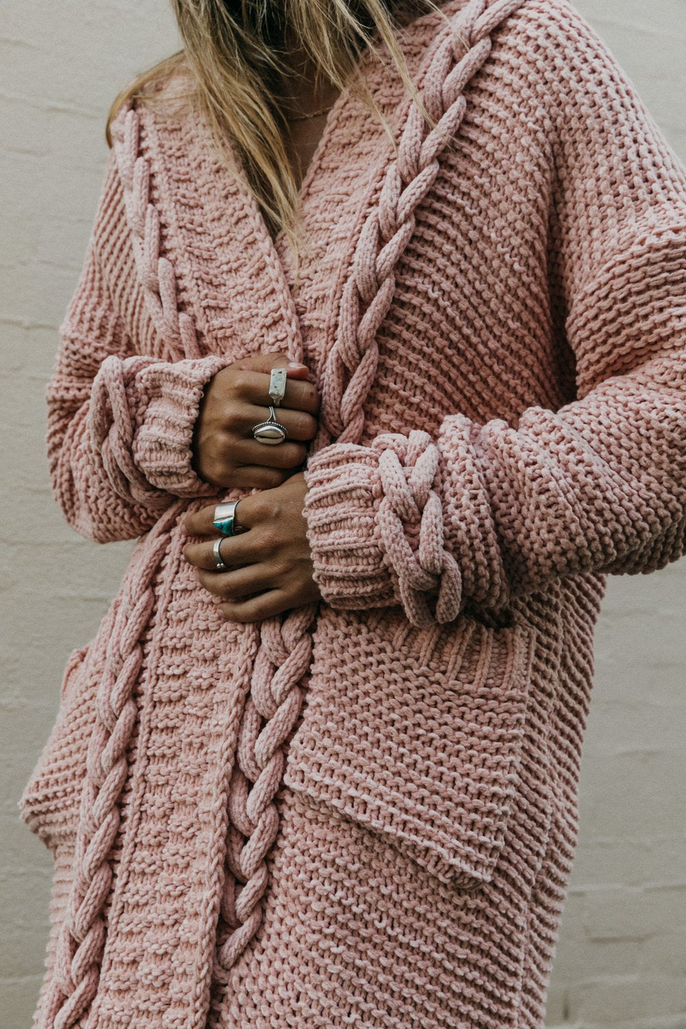Cable Knit Cardigan Mimi in Blush
