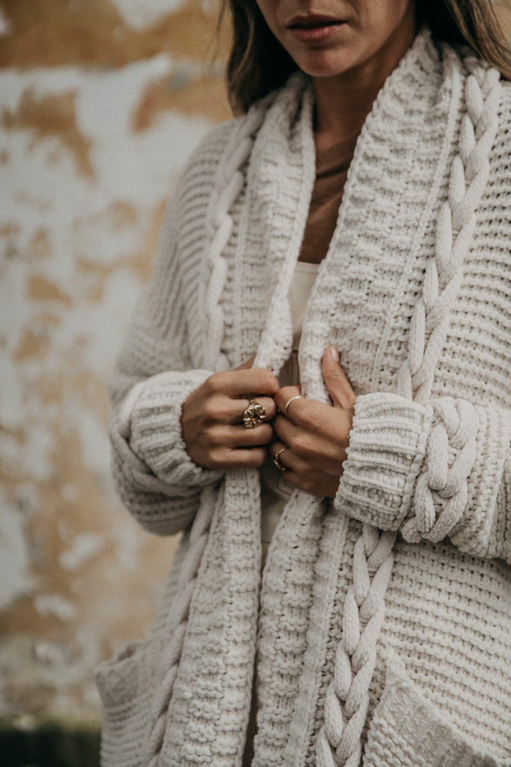 Cable Knit Cardigan Mimi in Cream