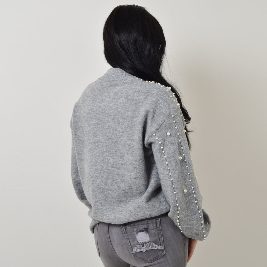 Pearl Embellished Jumper in light Grey