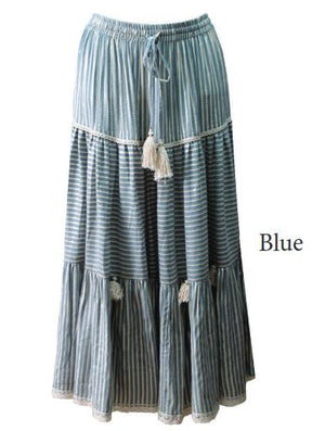 Miss June Maxi Stripes Skirt Tricia with Gold Lurex Thread in Blue