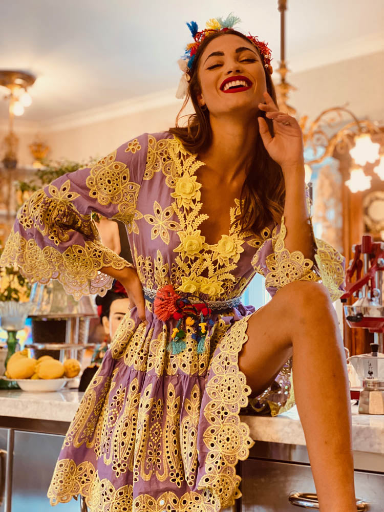 Embroidered Mini Dress Palermo in Lavender