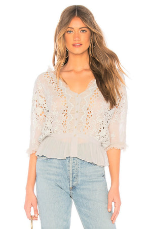 LoveShackFancy Devon Top in Cream