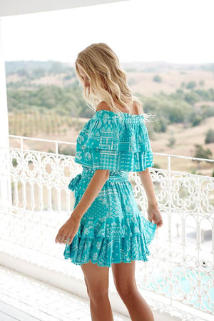 Off Shoulder NESSA PRINT Mini DRESS Sunday