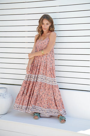 Oversized Sherbert Print Maxi Dress Cognac