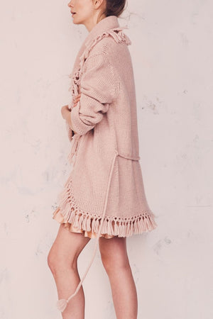 LoveShackFancy Tassel Cardigan in Dusty Rose