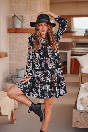 Fernanda Dress in Nightrose Print