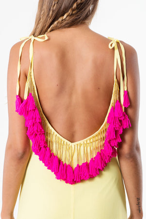 Minna Sundress long in yellow and Neon pink