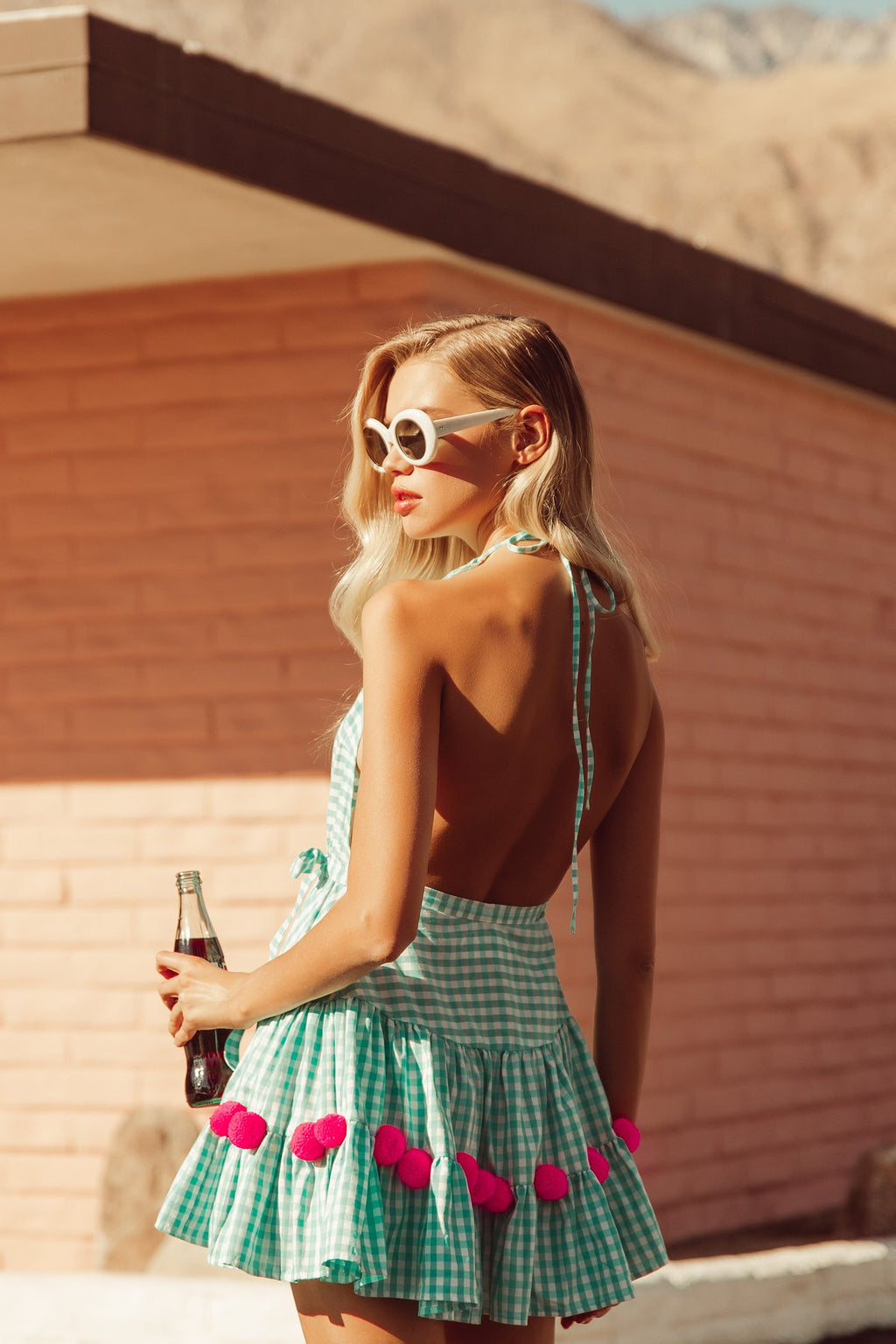 Mini Dress Neptune in Mint Gingham with Neon pink pompoms