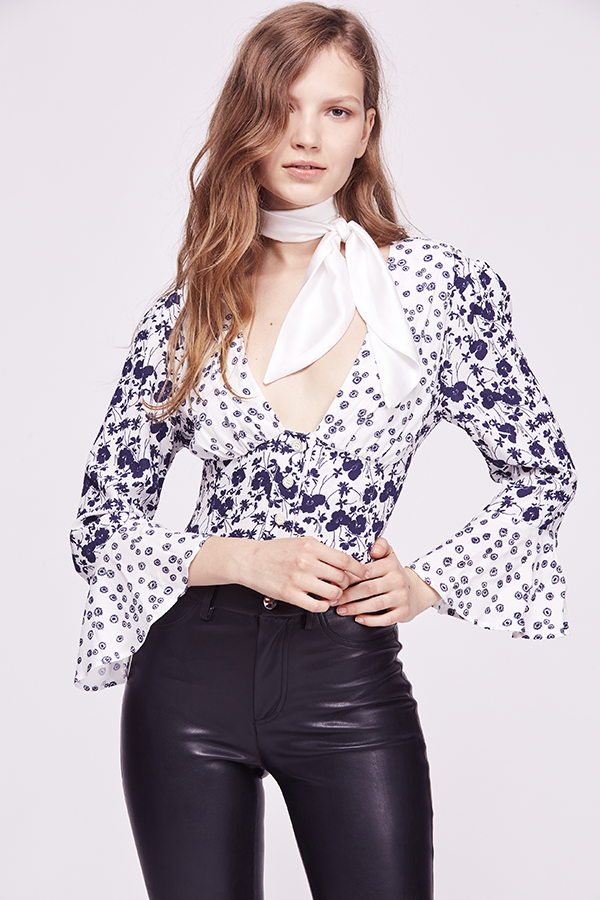 free people lady bohemian blouse in ivory print