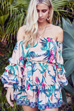 Off shoulder Mini Dress Belair in Passionfruit Print