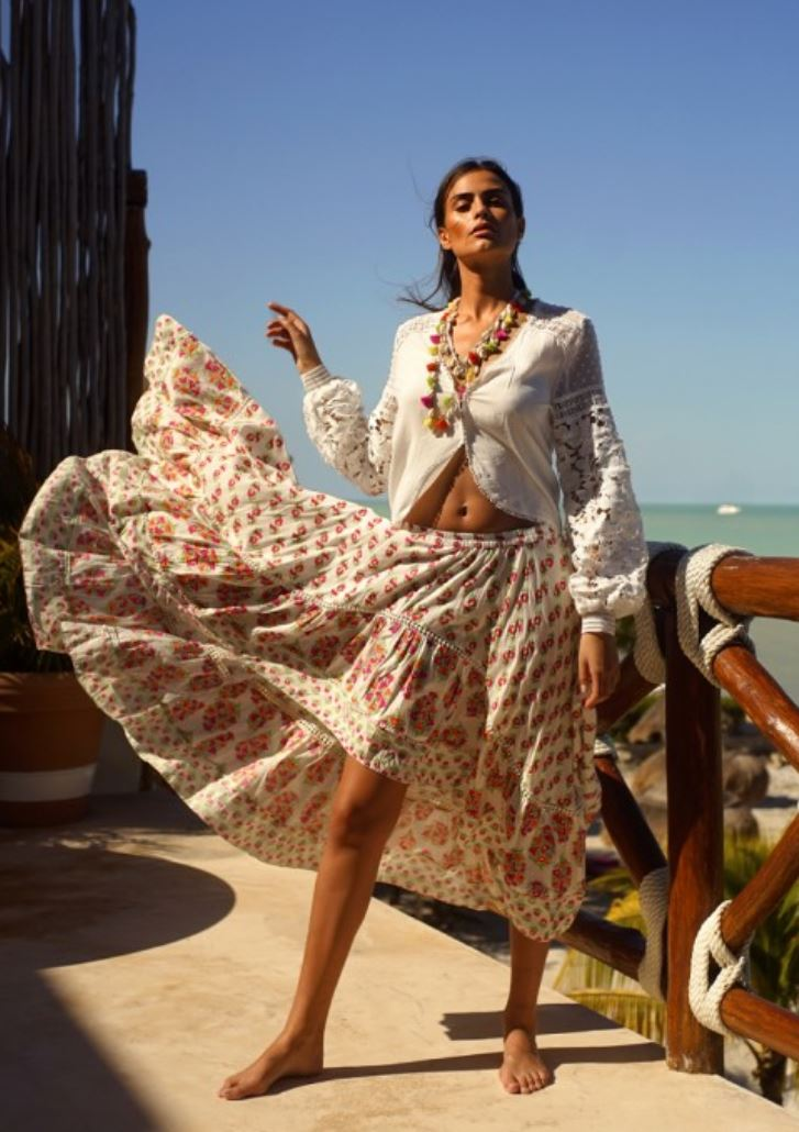 WHITE PRINT Miss June boho print hil low skirt Olivia