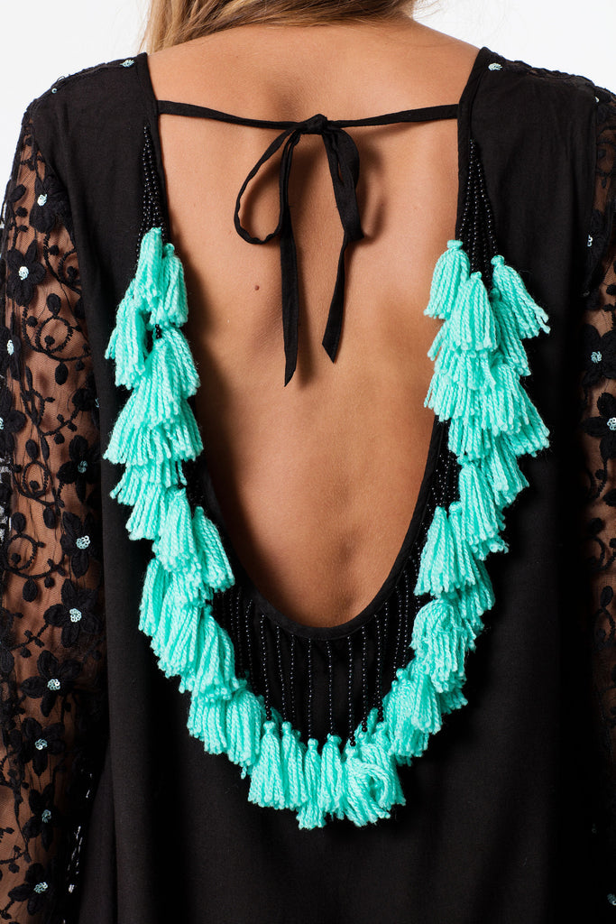 mini sundress in black with turquoise tassels