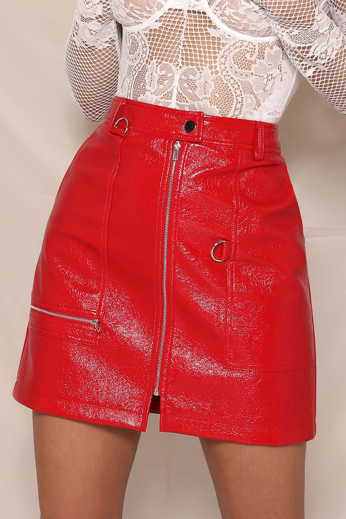 Red Patent skirt Panther
