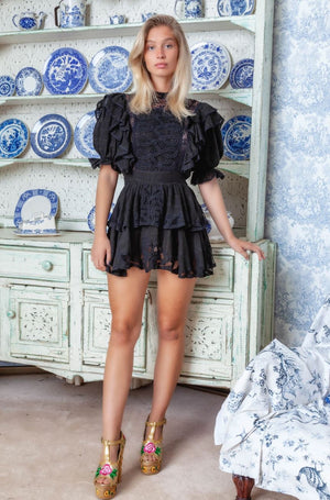 PENZANCE EMBROIDERED MINI DRESS IN BLACK