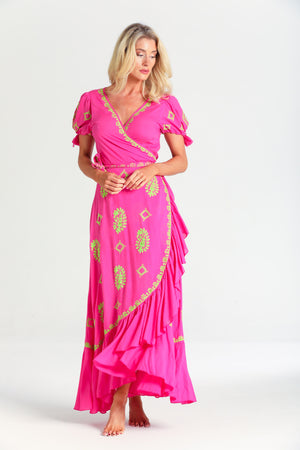 Rain Drop Embroidery Wrap Dress in Neon pink/lime