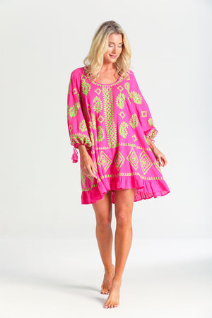 Dolly Kaftan Dress in Neon Pink Lime