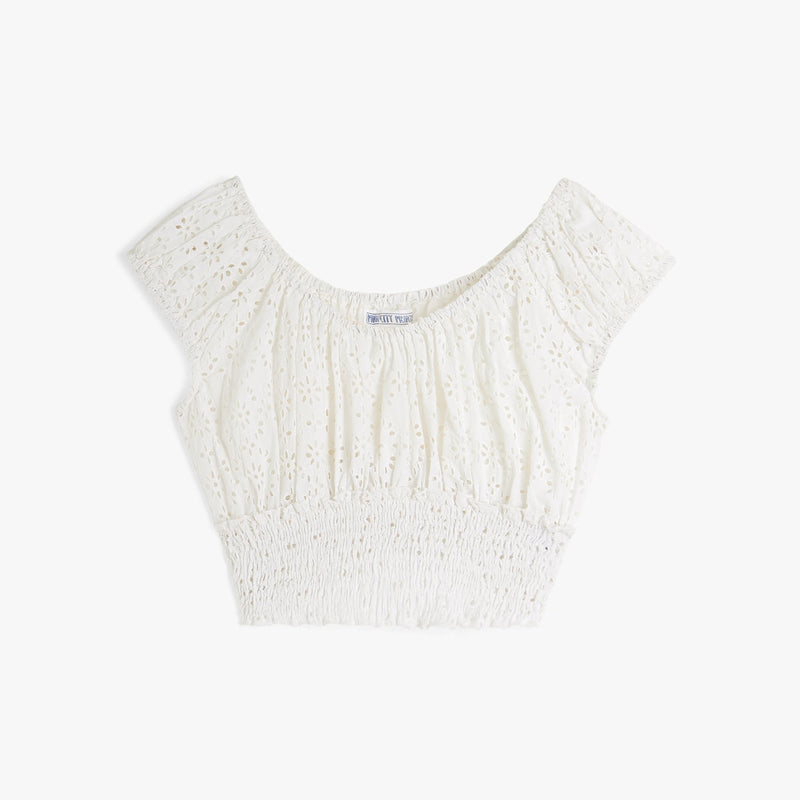 White Rah Rah Top in Broderie Anglais