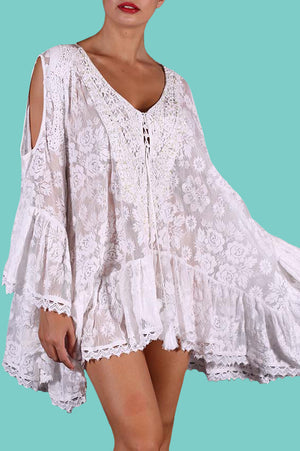 White Antica Lace Poncho with slit shoulder