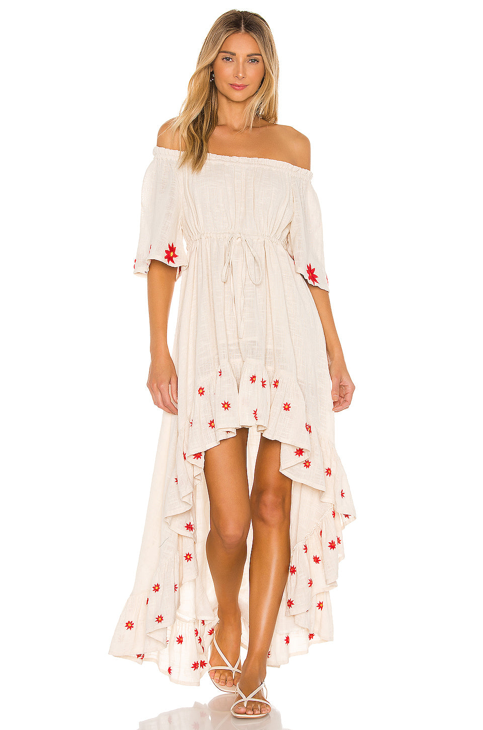 Off Shoulder Alena Hi Low Dress Red Daisies