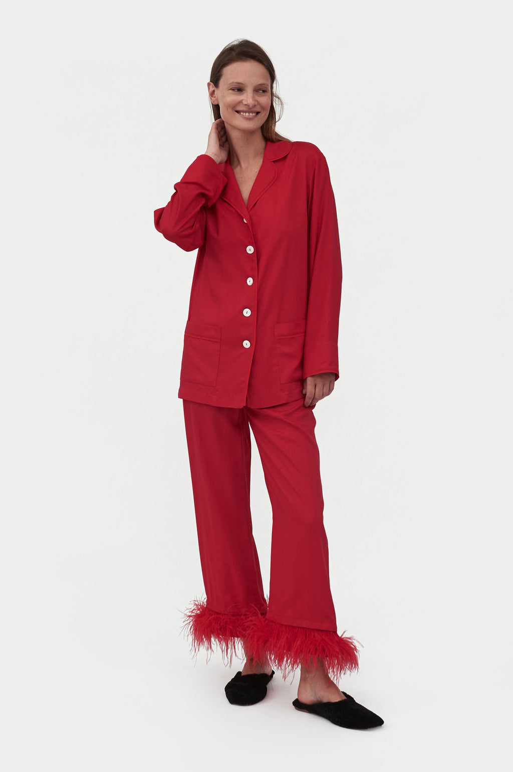Red feather-trimmed Party Pajama Set