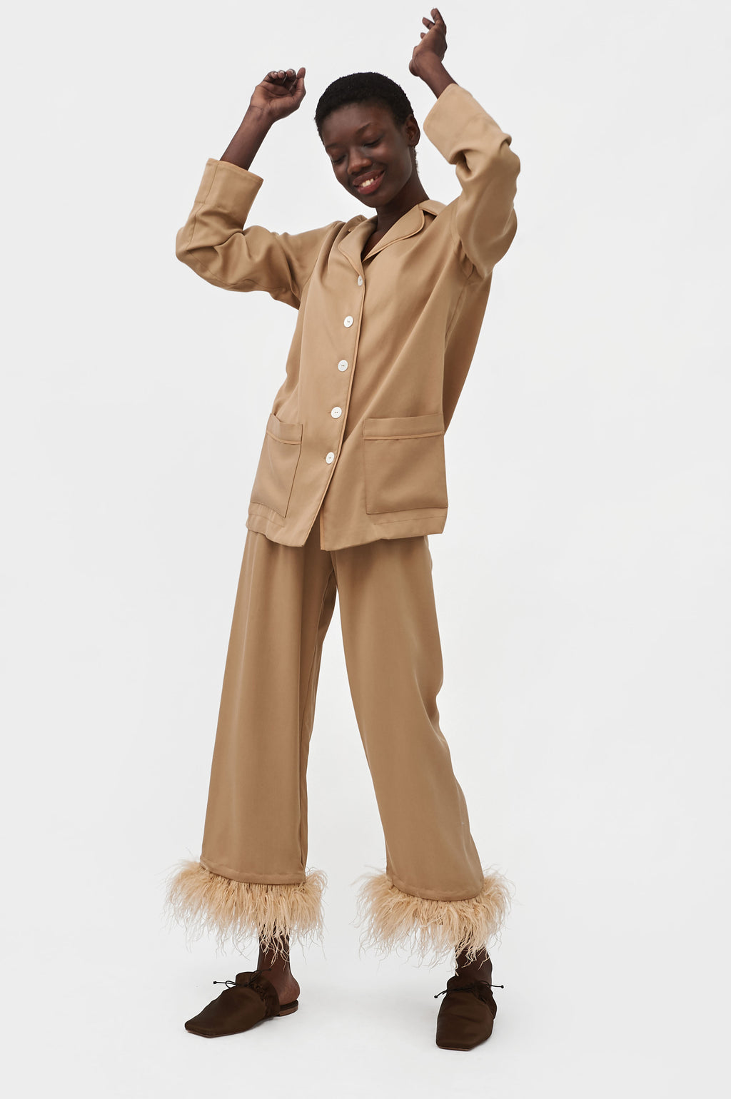 Beige feather-trimmed Party Pajama Set