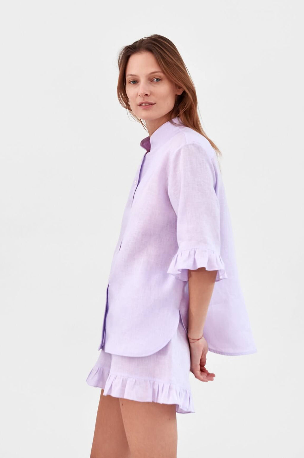Sleeper Ruffled Linen Lounge Suit in Lavender