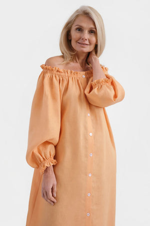 Sleeper Loungewear Linen Midi Dress in Coral