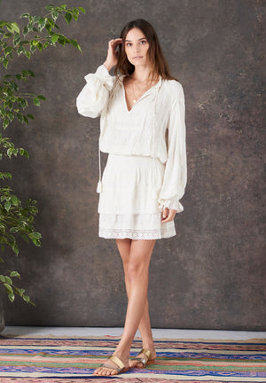 Stella Lace Embroidery Short Dress
