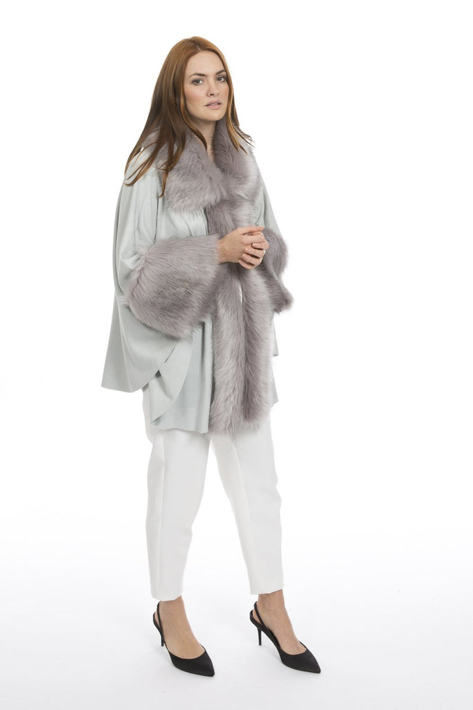 FAUX FUR FAUX SUEDETTE CAPE COAT