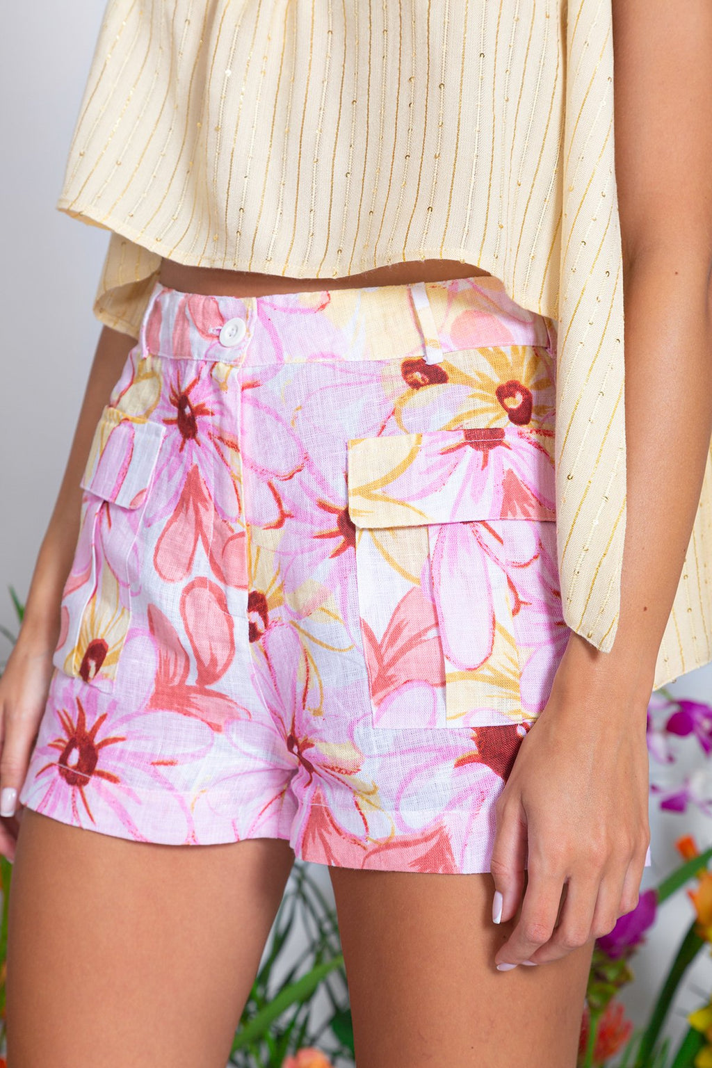 Chris Linen Shorts in Riviera Print