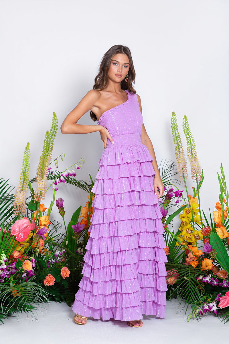 One Shoulder Maxi Dress Guadalupe in Lavender
