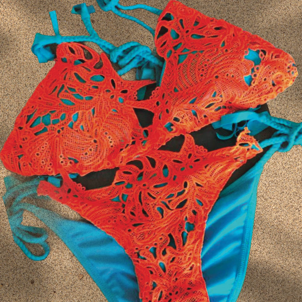 Antica Triangle Bikini Set in Turquoise & Coral