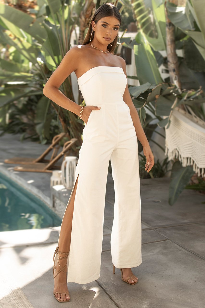 White Tailored Jumpsuit Tahari